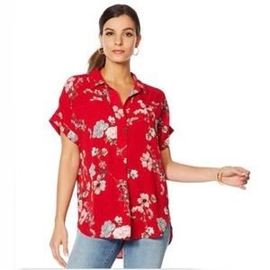 Vince Camuto Oasis Bloom Popover Blouse Red NWT